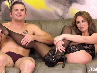 Emily Addison is fucking her new lover on the couch and moaning from pleasure during an orgasm big tits cumshot fetish video