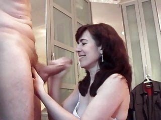 Big cock cums on mature Jessy's face and mouth amateur blowjob cumshot video