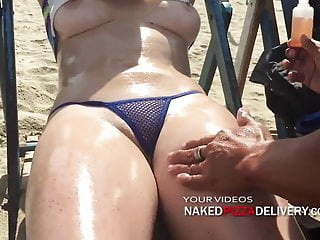 Lucky vendors, putting suntan oil on Ruby public nudity flashing voyeur video