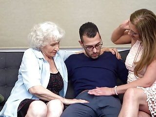 Hairy granny and mom sharing son's cock amateur blowjob hairy video