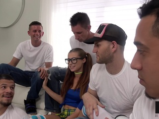Carolina Sweets Gets Messy in Her First Gangbang cumshot gangbang group sex video