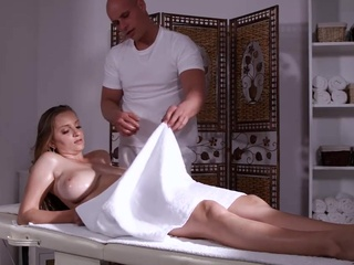 Busty blonde came for a massage and got a cock into pussy anal big tits blonde video